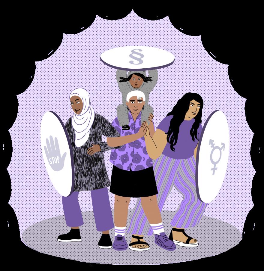 """Illustration mit drei Frauen und einem Mädchen, die entschlossen und mutig Schutzschilder vor sich halten, die verschiedene Symbole abbilden. Auf einem Schild ist eine """"Stopp!""""-Hand, auf einem weiteren Schild ist das Symbol für alle Geschlechter und auf dem dritten ein Paragraph abgebildet."""